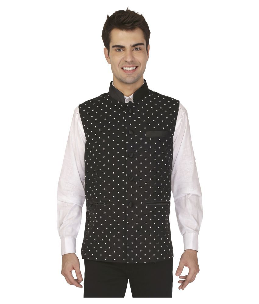 Veera Paridhaan Black Printed Formal Waistcoats