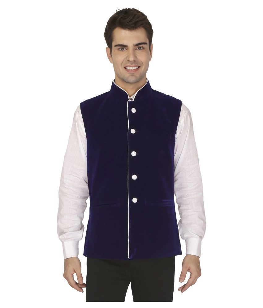 Veera Paridhaan Blue Plain Formal Waistcoats