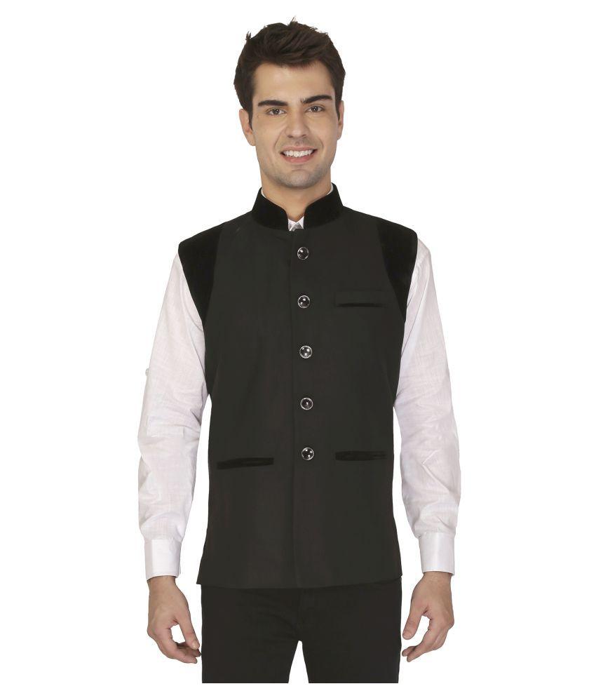 Veera Paridhaan Black Plain Formal Waistcoats