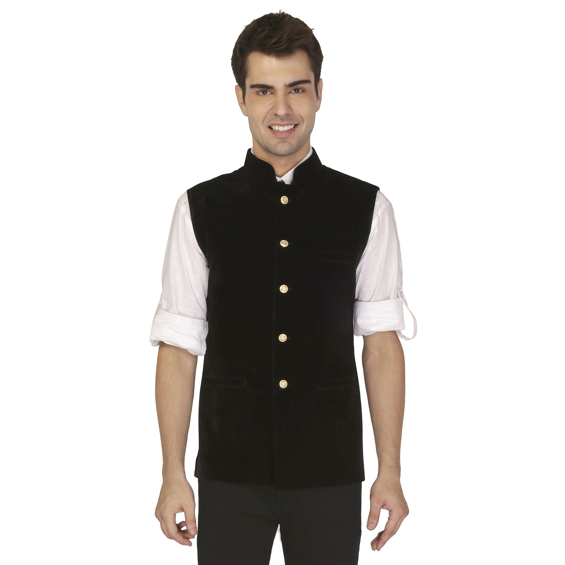 Veera Paridhaan Black Plain Formal Waistcoats