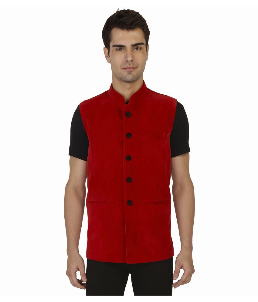 Veera Paridhaan Red Plain Formal Waistcoats