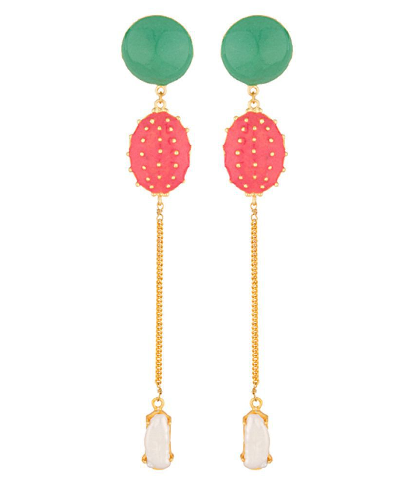 Voylla Golden Dangler Earrings With White Stone Drop And  Multicolor Enamel Work