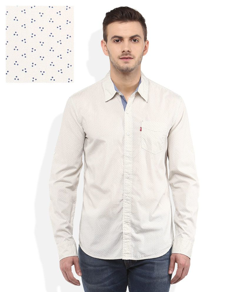 Levis White Regular Fit Shirt