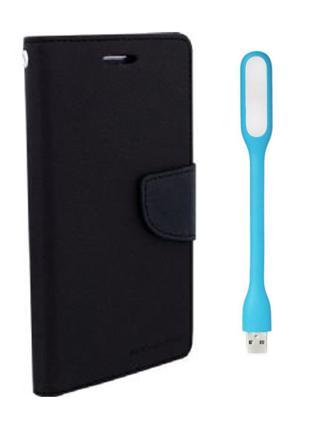 Wallet Flip Case Back Cover For Samsung G350 -(Black) + Flexible Mini LED Stick Lamp Light By Style Crome