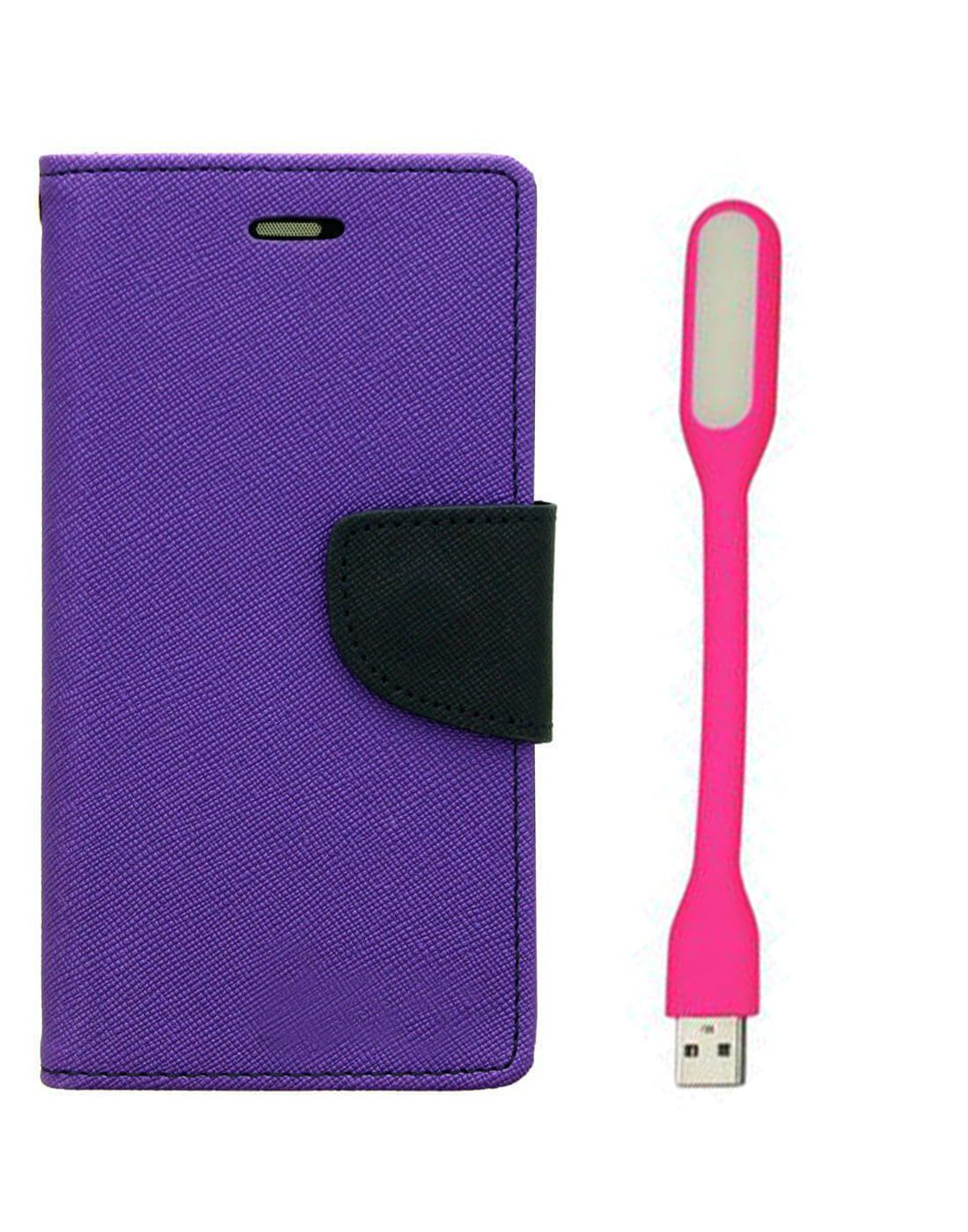 Wallet Flip Case Back Cover For Lenovo A6000 - (Purple) + Flexible Mini LED Stick Lamp Light By Style Crome