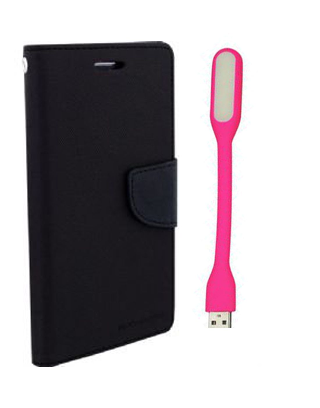 Wallet Flip Case Back Cover For Samsung E5 -(Black) + Flexible Mini LED Stick Lamp Light By Style Crome