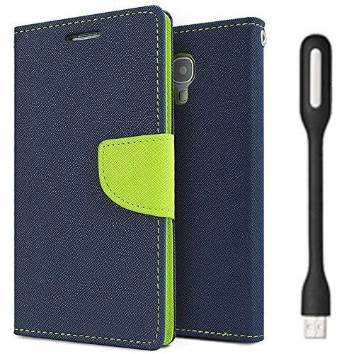 Wallet Flip Case Back Cover For Apple I phone 6 - (Blue) + Flexible Mini LED Stick Lamp Light By Style Crome