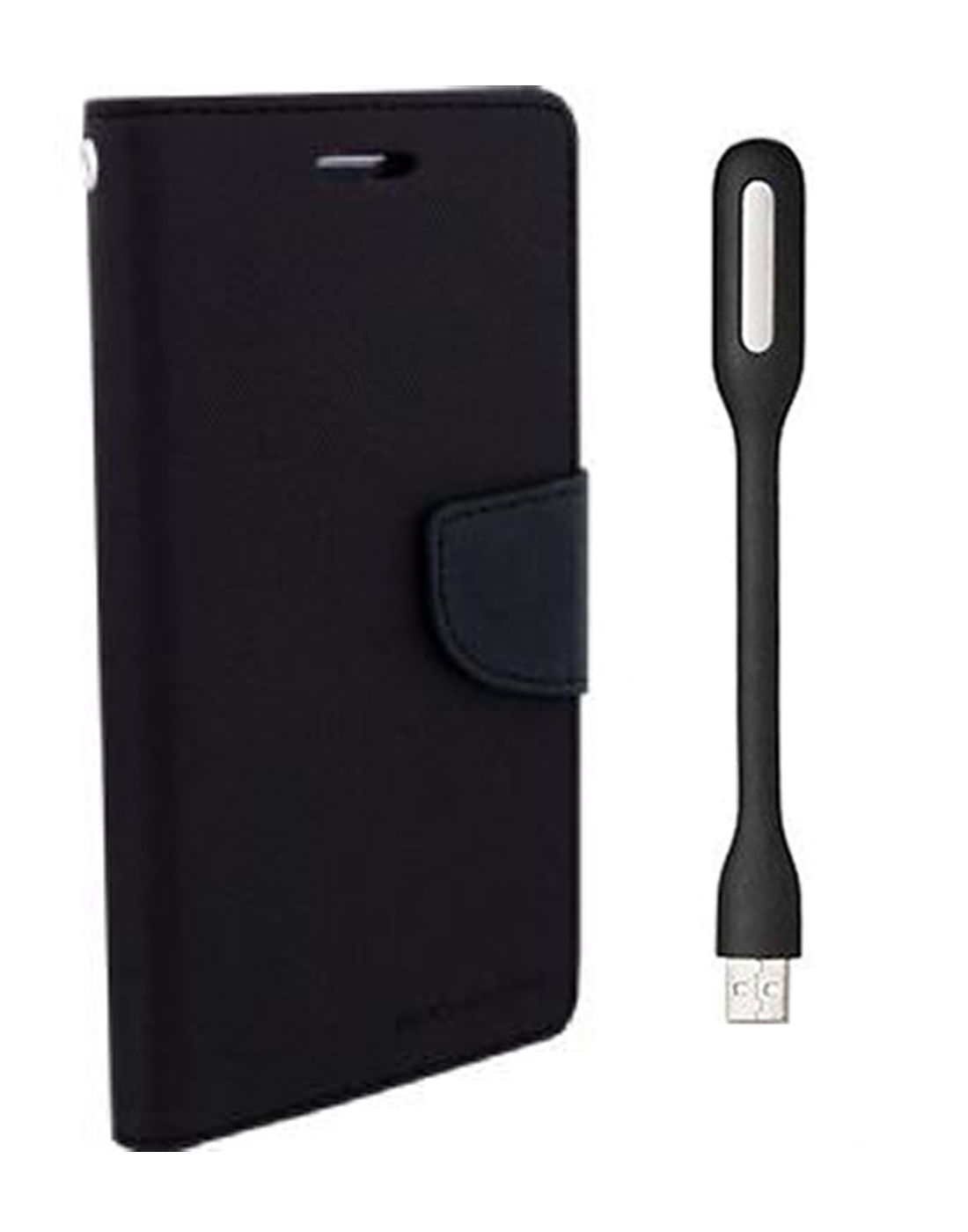 Wallet Flip Case Back Cover For Micromax A120 -(Black) + Flexible Mini LED Stick Lamp Light By Style Crome