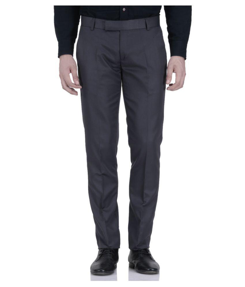 Le Meiux Grey Regular Flat Trouser