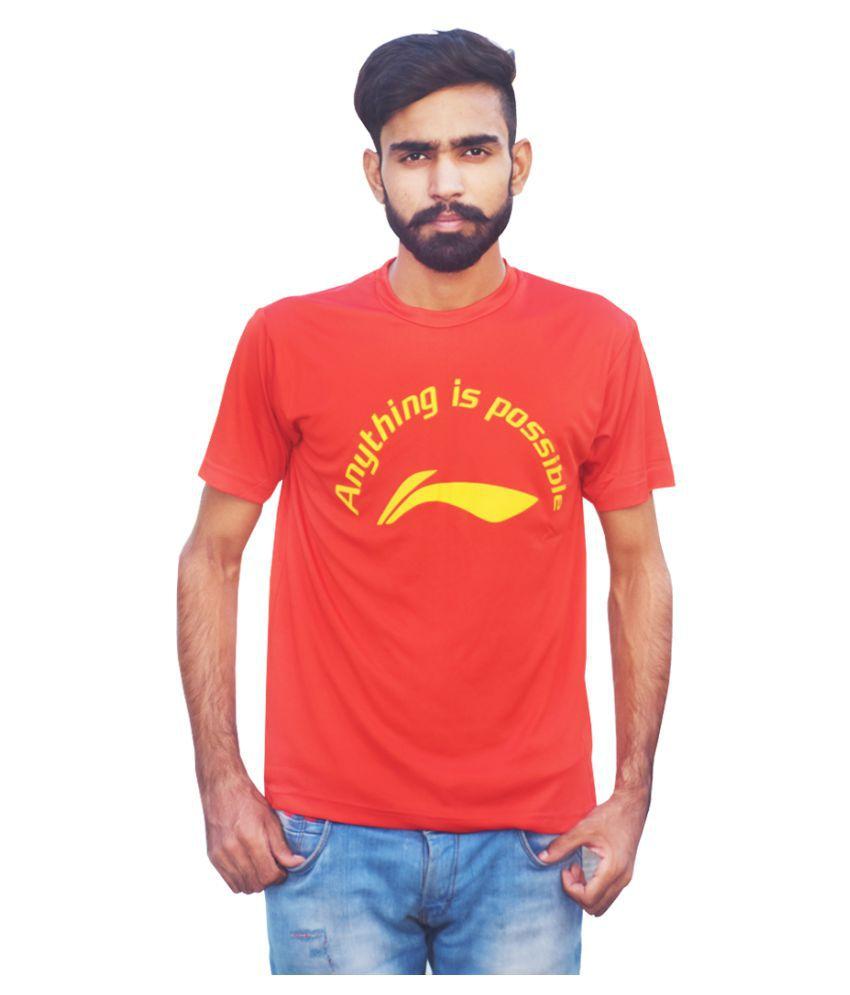 Li-Ning APLK397-3 Red Plain Collar T-Shirt