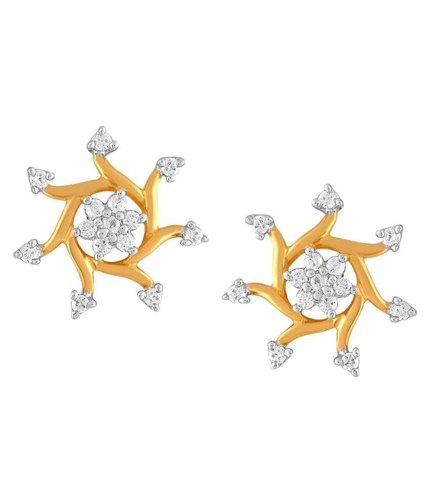 Asmi 18k BIS Hallmarked Yellow Gold Diamond Studs