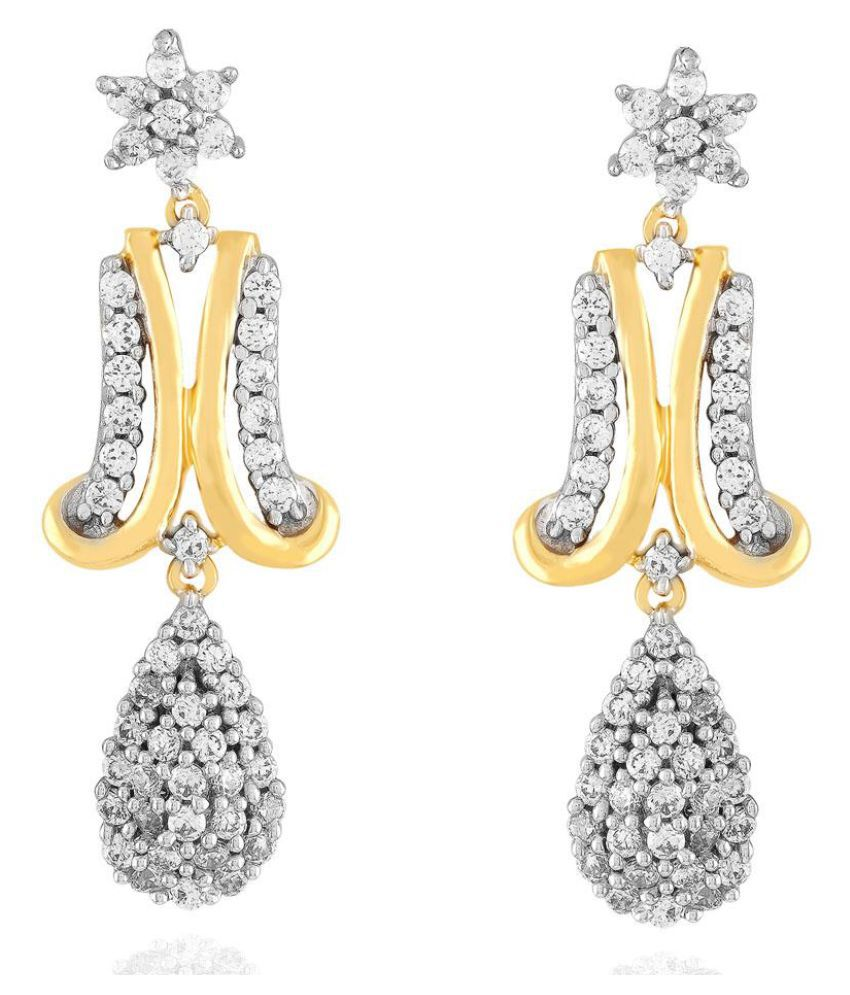Asmi 18k BIS Hallmarked Yellow Gold Diamond Drop Earrings