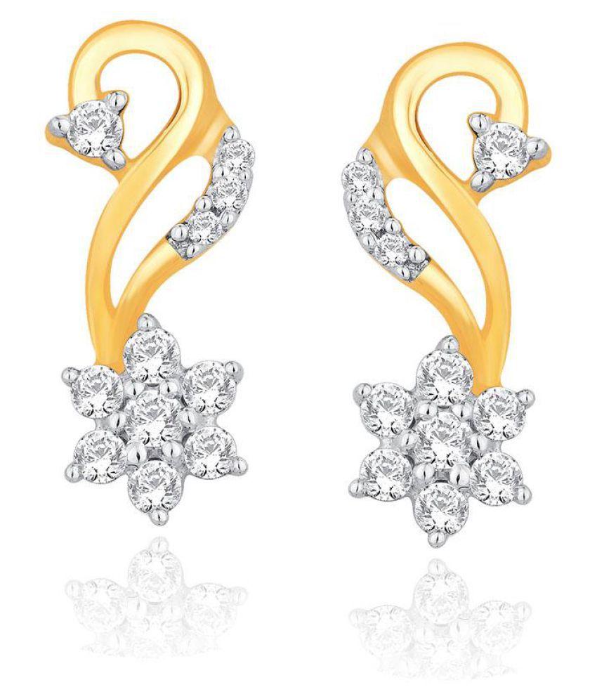Nakshatra 18k BIS Hallmarked Yellow Gold Diamond Hangings