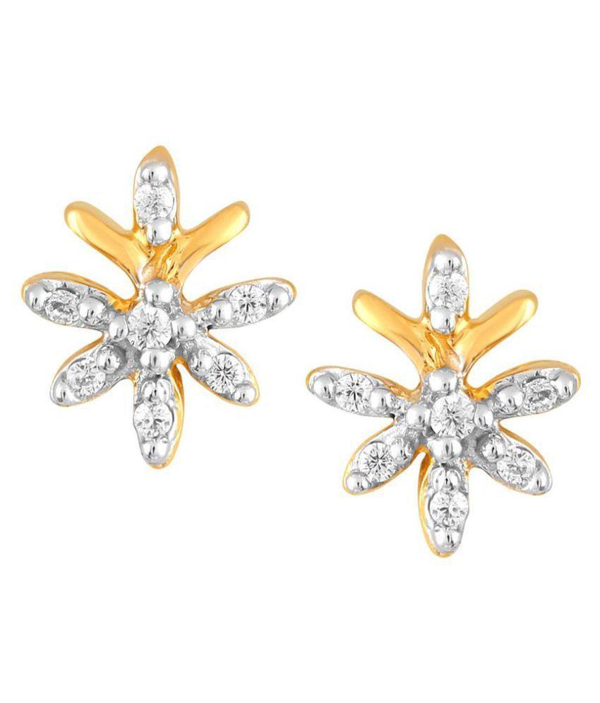 Sangini 18k BIS Hallmarked Yellow Gold Diamond Studs