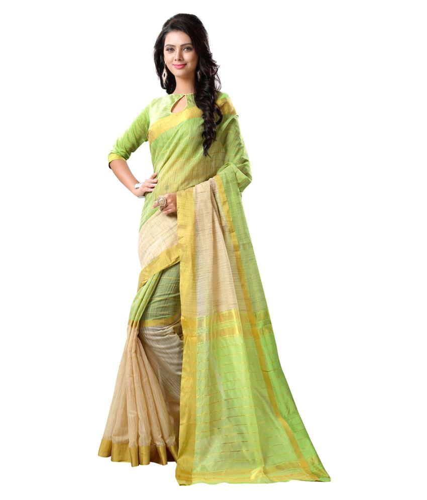 Fashion World Lime Green Tussar Silk Saree