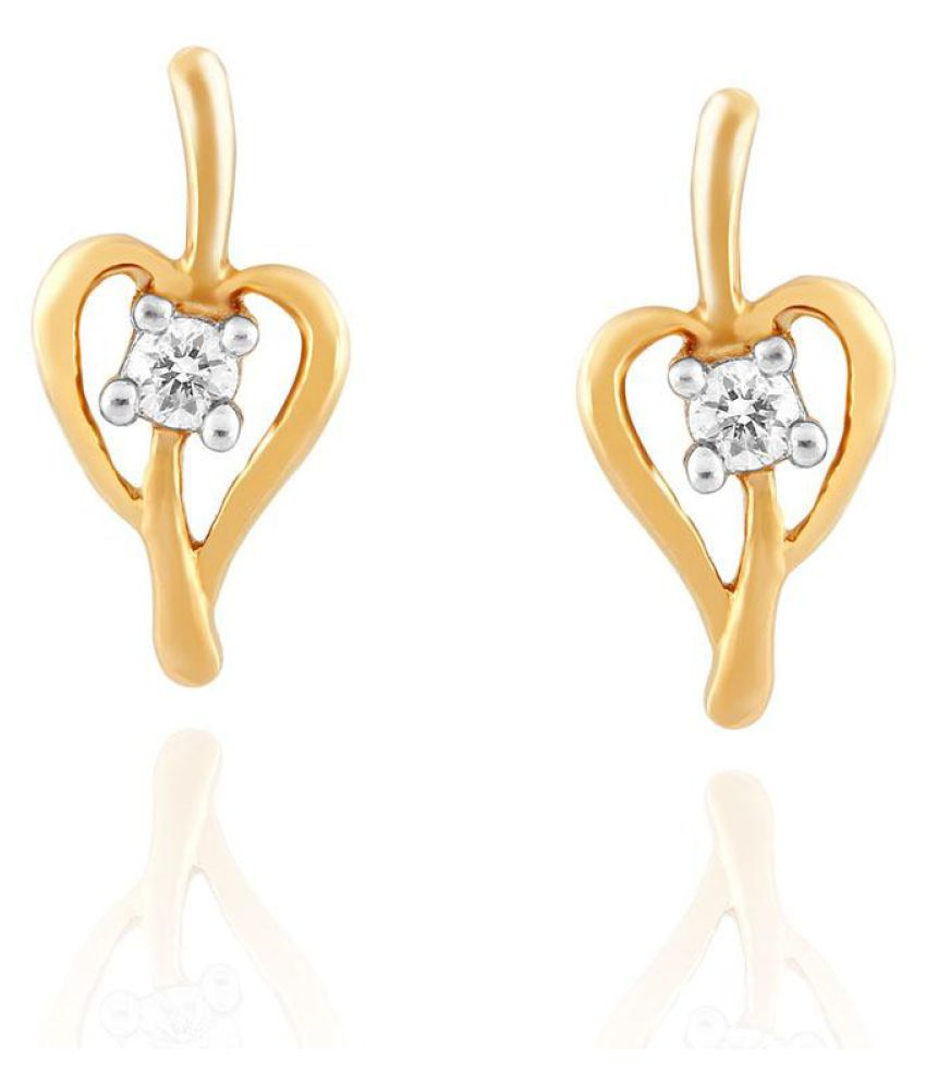 Sangini 18k BIS Hallmarked Yellow Gold Diamond Studs