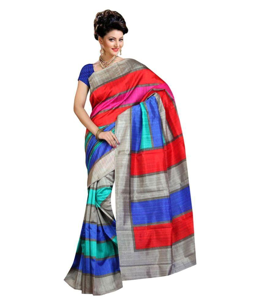 Shopo World Multicoloured Bhagalpuri Silk Saree