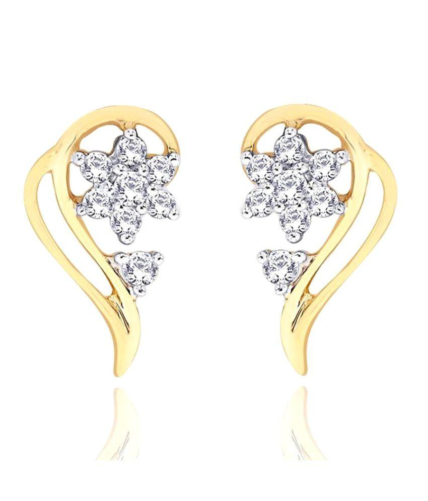 Shuddhi 18k BIS Hallmarked Yellow Gold Diamond Studs