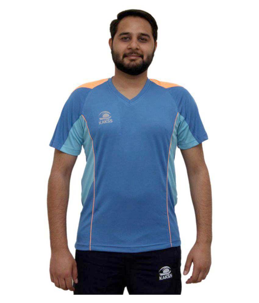 Kakss Blue Polyster Fitness T-shirt for Men
