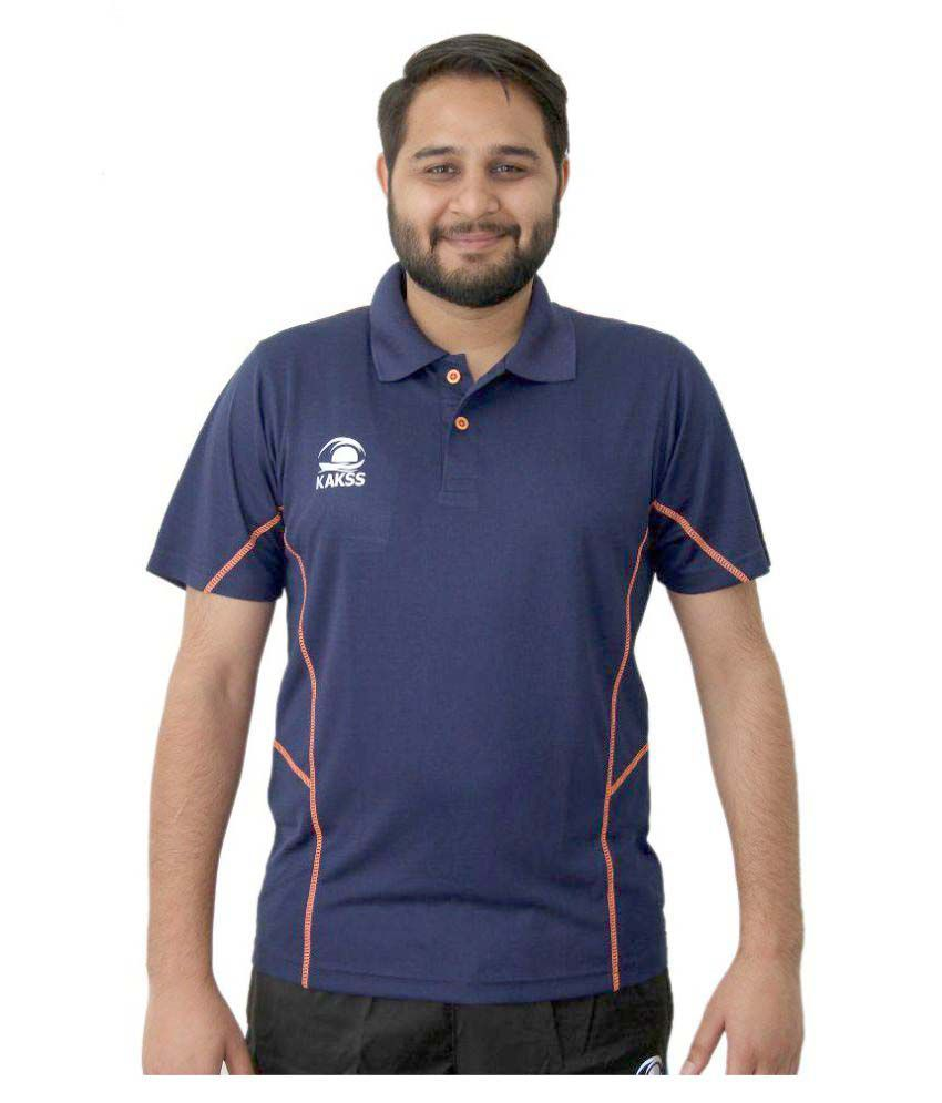 Kakss Navy Polyester Polo T-Shirt