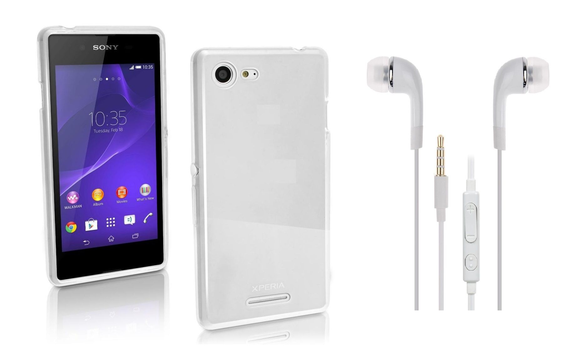 new product 11886 e4be8 Sony Xperia E3 Back Cover transparent and 3.5MM Jack Premium Earphones  White by iCopertina