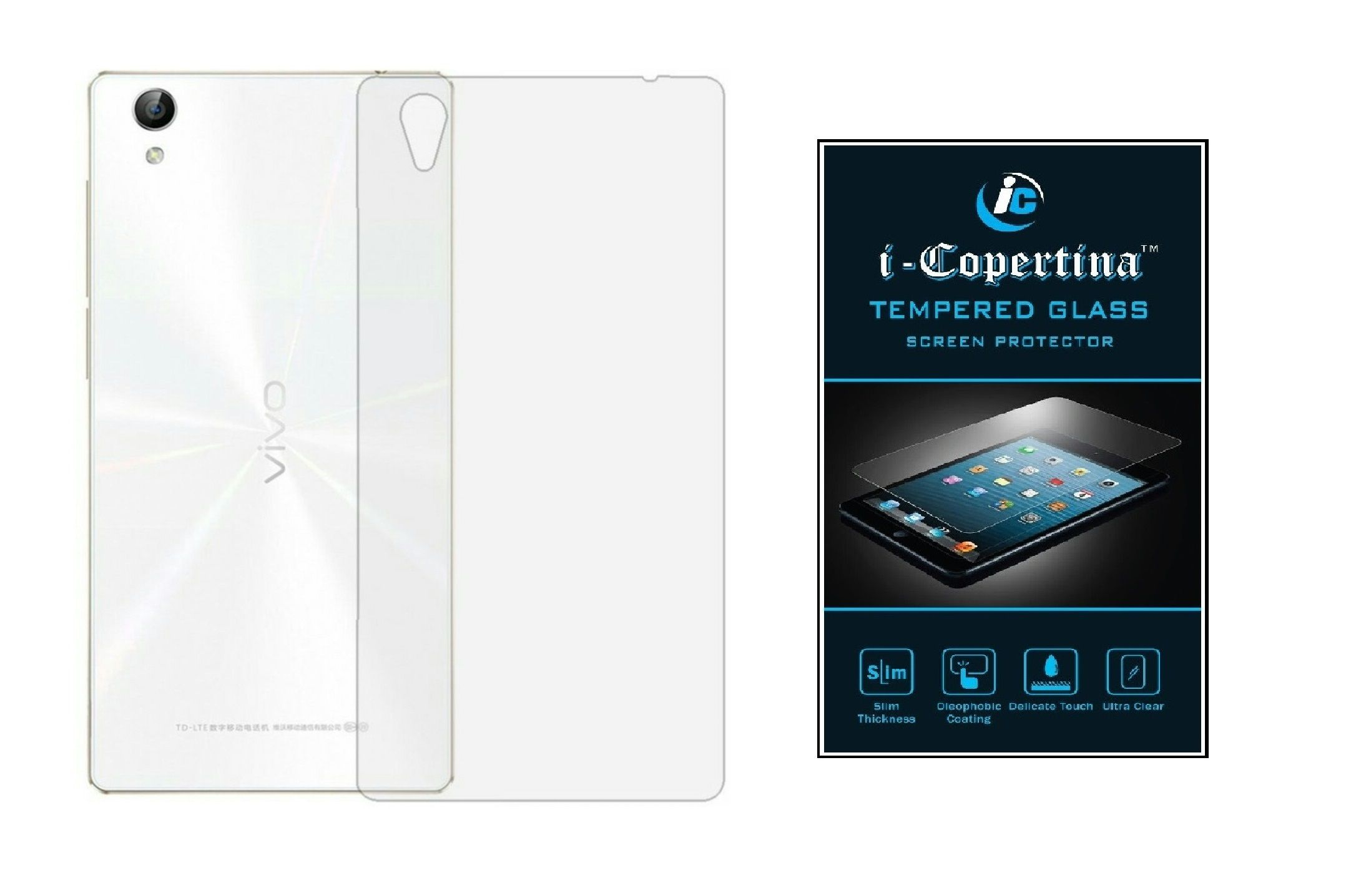 Vivo Y51 L Transparent Back Cover and Tempered Glass bo Set by iCopertina