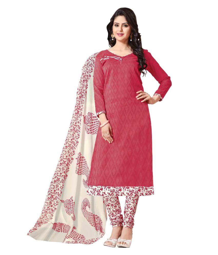 Aasvaa Pink Jacquard Dress Material