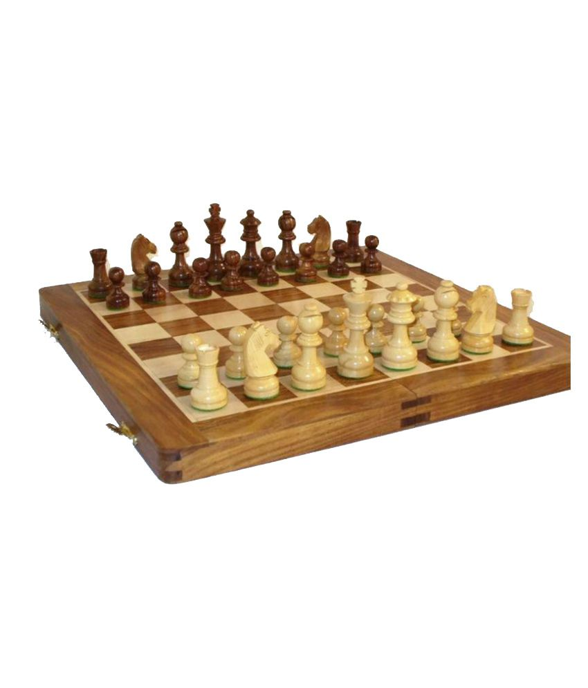 Desi Karigar Wooden Handmade Standard Classic Chess Board Game Small Chess Pieces Foldable Size 16 Inches (Non-Magnetic)