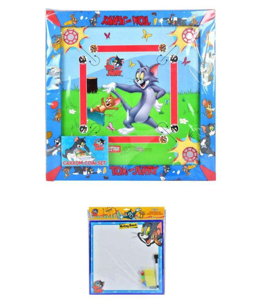 Tom & Jerry Carom Board & 2 in 1 Writing Board with Game