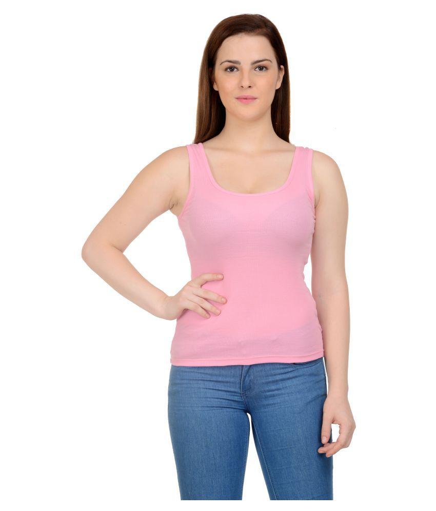 NeuVin Pink Cotton Tank Tops - Buy NeuVin Pink Cotton Tank ...