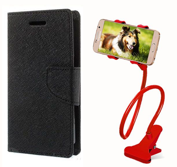 Fancy Flip Case Back Cover For Motorola Moto X Play(Black) + 360 Rotating Bed Mobile lazy stand by  Aart store.
