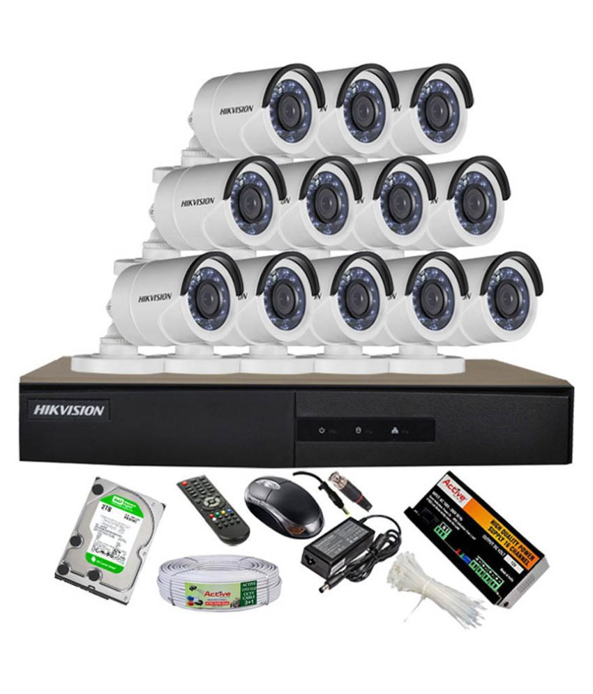 Hikvision DS-7216HGHI-E1 16CH Dvr, 12(DS-2CE16COT-IRP) Bullet Cameras (With Mouse, Remote, 2 TB HDD, Bnc&Dc Connectors,Power Supply,Cable)
