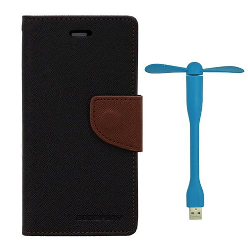 Wallet Flip Case Back Cover For Sony Xperia T3 - (Blackbrown)+Flexible Stylish Mini USB Fan in Blue color By Style Crome