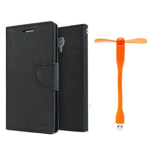 Wallet Flip Case Back Cover For Micromax A104 -(Black)+Flexible Stylish Mini USB Fan in Orange color By Style Crome