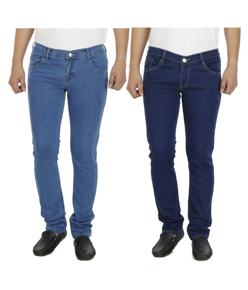 AtLast Blue Slim Solid Jeans - Pack of 2