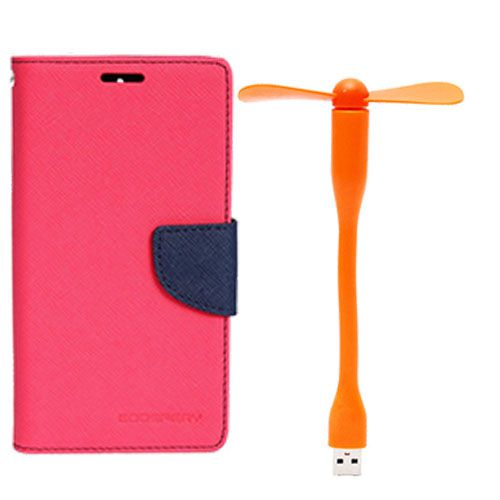 Wallet Flip Case Back Cover For Samsung Note 3 - (Pink)+Flexible Stylish Mini USB Fan in Orange color By Style Crome