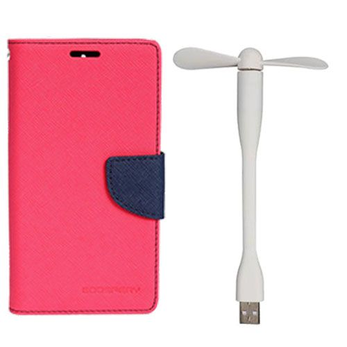 Wallet Flip Case Back Cover For Micromax A117 - (Pink)+Flexible Stylish Mini USB Fan in White color By Style Crome