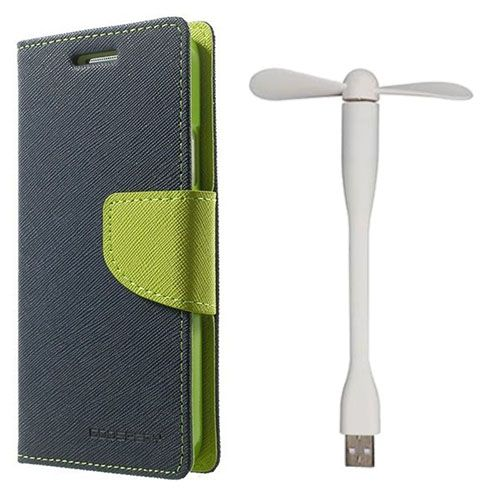 Wallet Flip Case Back Cover For Micromax A117 - (Blue)+Flexible Stylish Mini USB Fan in White color By Style Crome