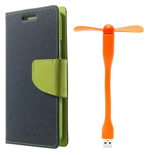 Wallet Flip Case Back Cover For Micromax Q372 - (Blue)+Flexible Stylish Mini USB Fan in Orange color By Style Crome