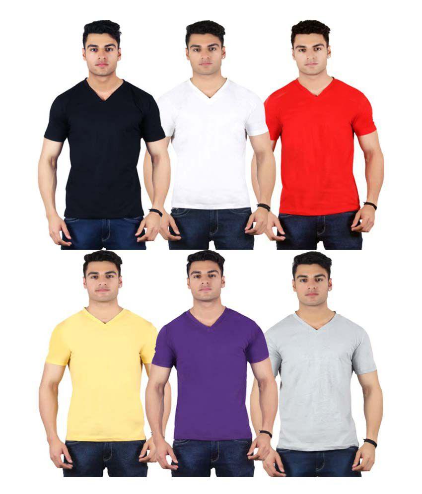 Diaz Multi V-Neck T-Shirt Pack of 6