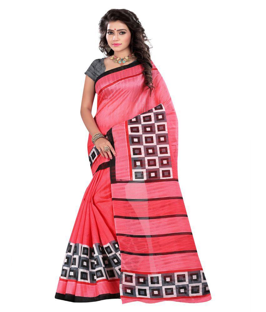 Luga Pink Bhagalpuri Silk Saree