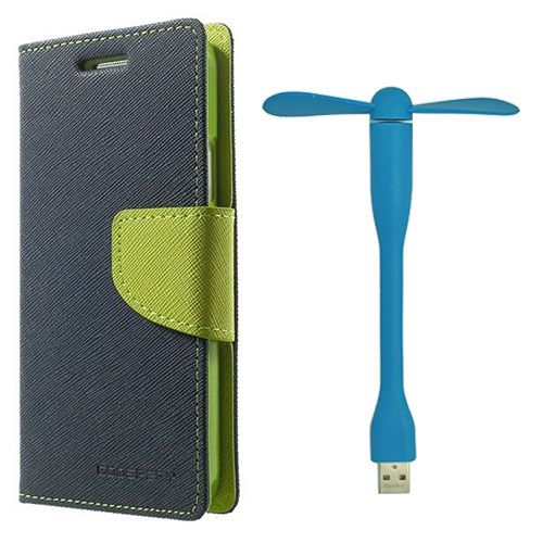 Wallet Flip Case Back Cover For Sony Xperia E3 - (Blue)+Flexible Stylish Mini USB Fan in Blue color By Style Crome