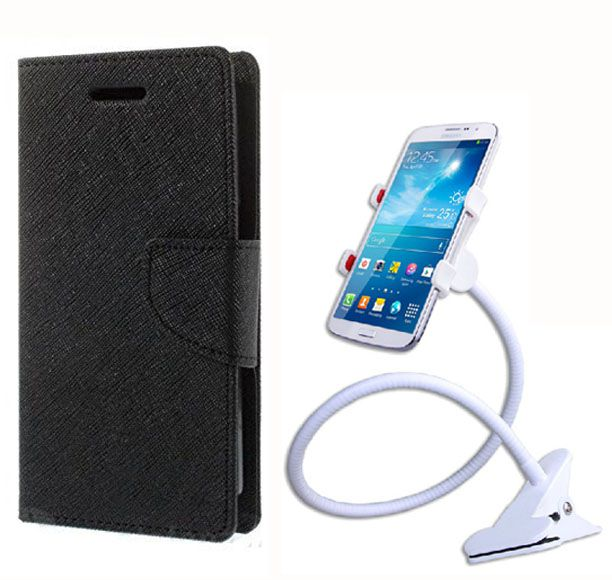 Fancy Flip Case Back Cover For Xiaomi Redmi 1S (Black Brown) + 360 Rotating Mobile lazy stand by  Aart store.
