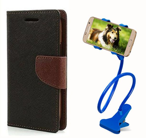 Fancy Flip Case Back Cover For Sony Xperia M4 Aqua (Black Brown) + 360 Rotating Mobile lazy stand by  Aart store.