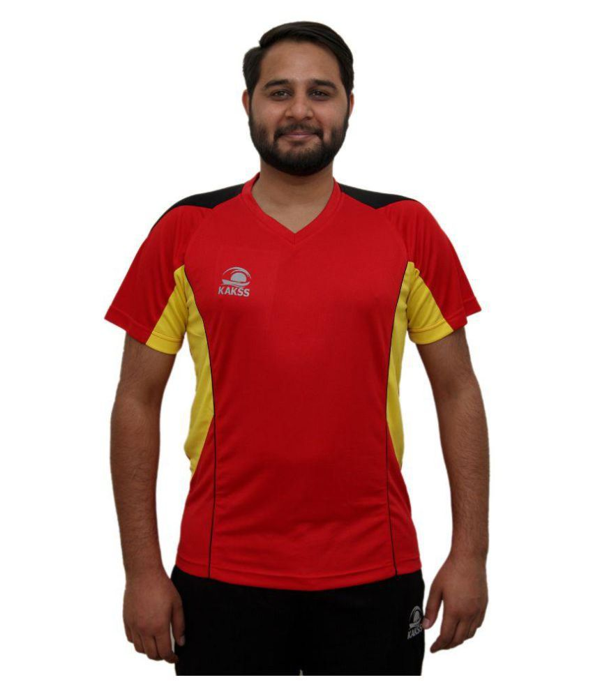 Kakss Red Polyester T-Shirts