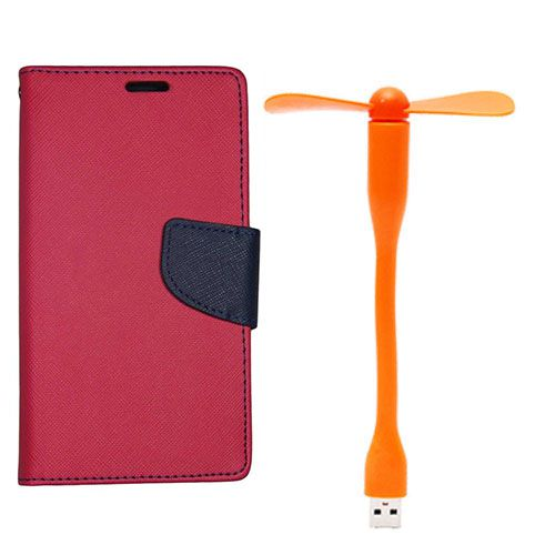Wallet Flip Case Back Cover For HTC E9Plus - (Red)+Flexible Stylish Mini USB Fan in Orange color By Style Crome