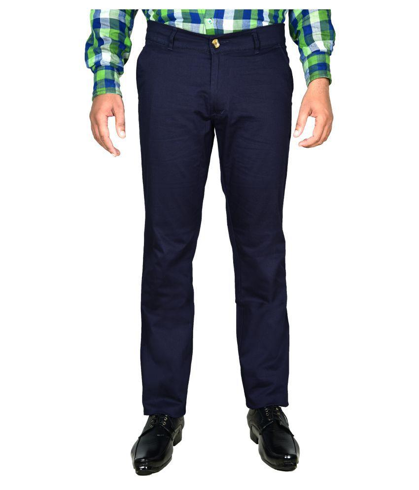 Cay Navy Blue Slim Flat Trouser