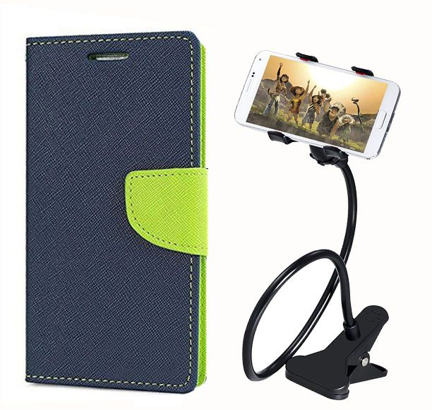 Fancy Flip Back Cover For Samsung Galaxy Note 3 (Blue) + 360 Rotating Bed Mobile lazy stand by  style crome.