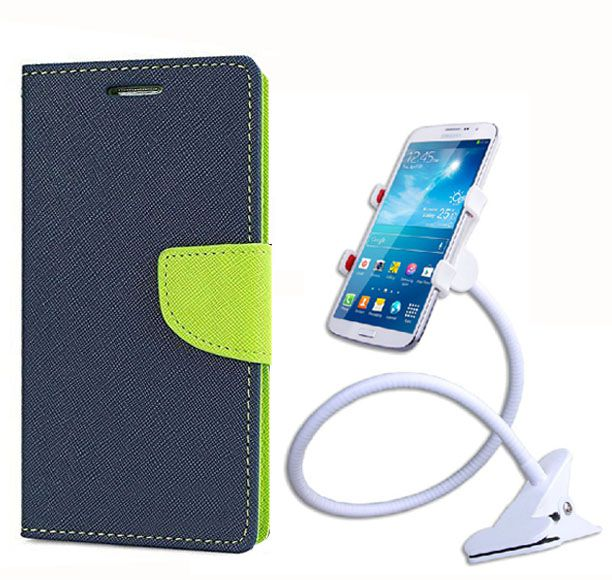 Fancy Flip Back Cover For Lenovo A7000 (Blue) + 360 Rotating Bed Mobile lazy stand by  style crome.