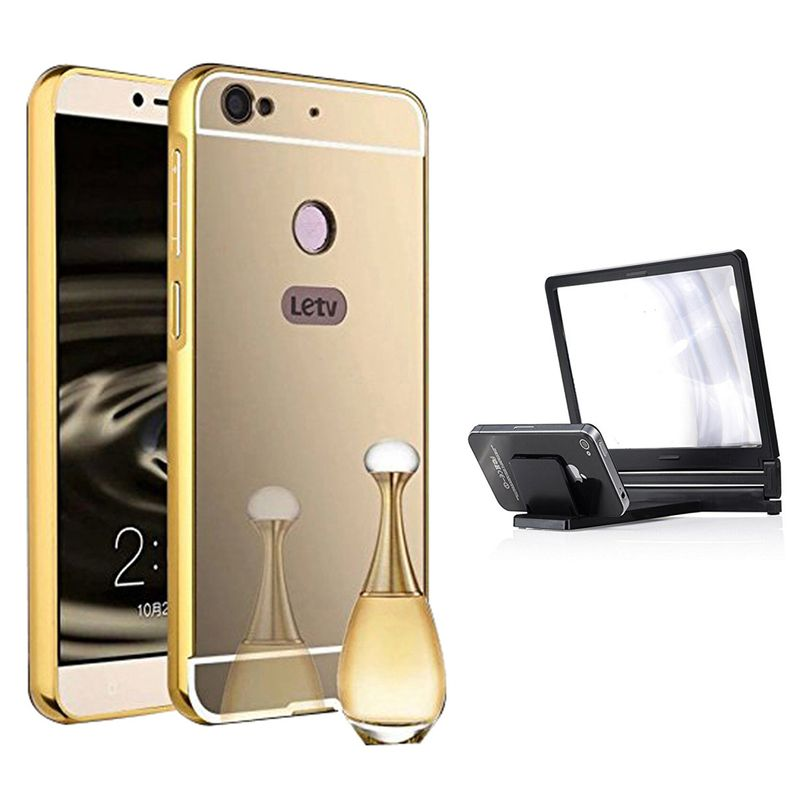 Mirror Back Cover For LeEco Le 1s + 3d magnifier mobile holder free by Style Crome.